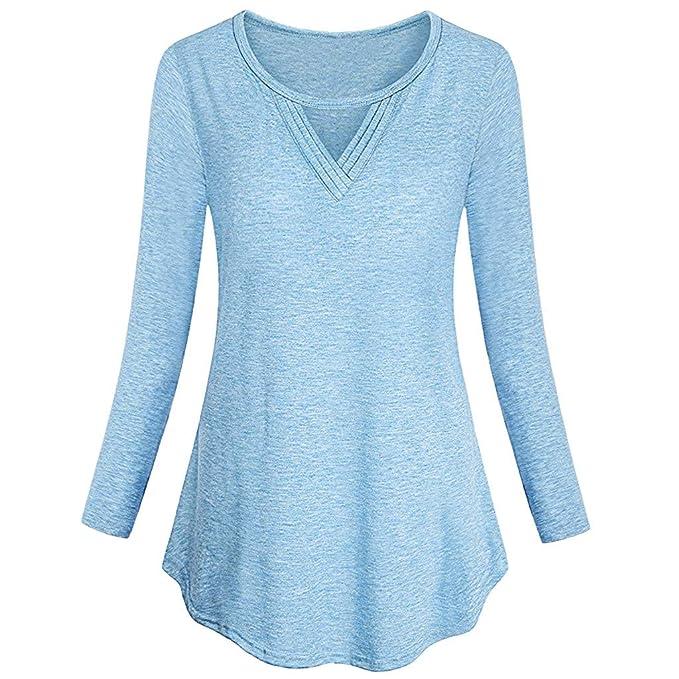 ... Blusa sin Mangas Abotonada Larga básica básica del Color sólido de Las Mujeres Remata la Blusa ❤ Absolute: Amazon.es: Ropa y accesorios