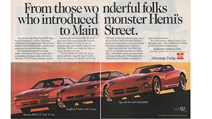 Magazine Print Ad: Red 1992 Dodge Daytona IROC R/T, Stealth R/