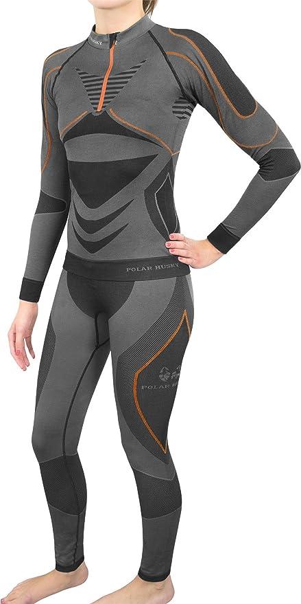 dfc0da4ee8b099 Polar Husky® Sport-Funktionsunterwäsche-Set für Damen und Herren Farbe  Schwarz Orange