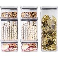 Kit 10 Potes P/Alimentos Herméticos Quadrados Empilháveis