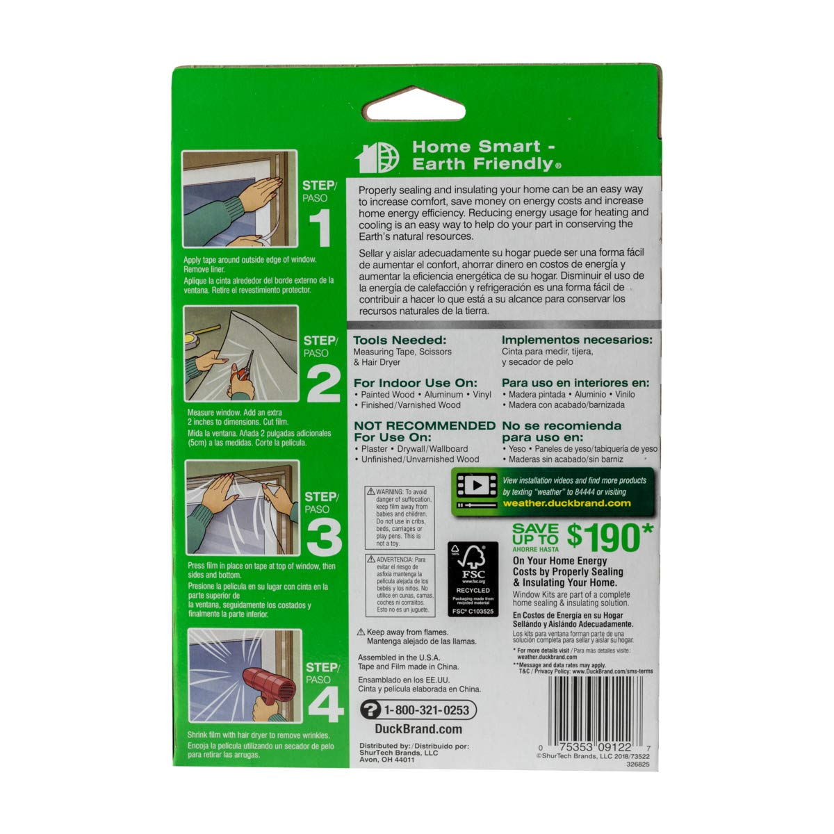 Duck Brand 281066 Indoor 3-Window Shrink Film Insulator Kit 62-Inch x 126-Inch