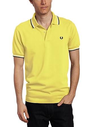 Fred Perry M1200 Polo para hombre, color negro/amarillo: Amazon.es ...