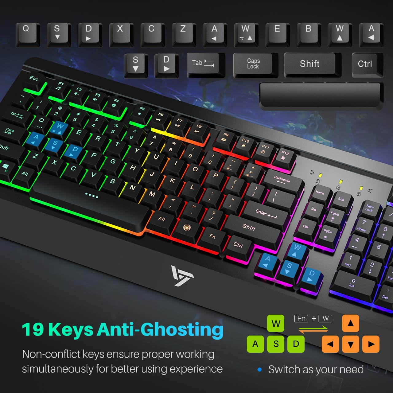 ae763c62ede VicTsing Backlit Gaming Keyboard Mouse Combo with Adjustable Backlight  Programmable 6 Button Mouse for Windows PC ...