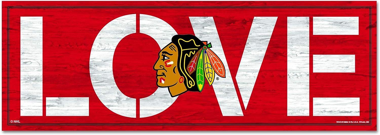 WinCraft Chicago Blackhawks Love 8 x 23 Wood Sign