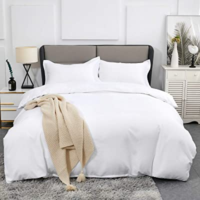 Ultra Soft and Breathable Bedding Comforter Sets Washed Microfiber 3 Pieces with Zipper Closure Duvet Cover and 2 Pillow Shams Duvet Covers Queen Size White