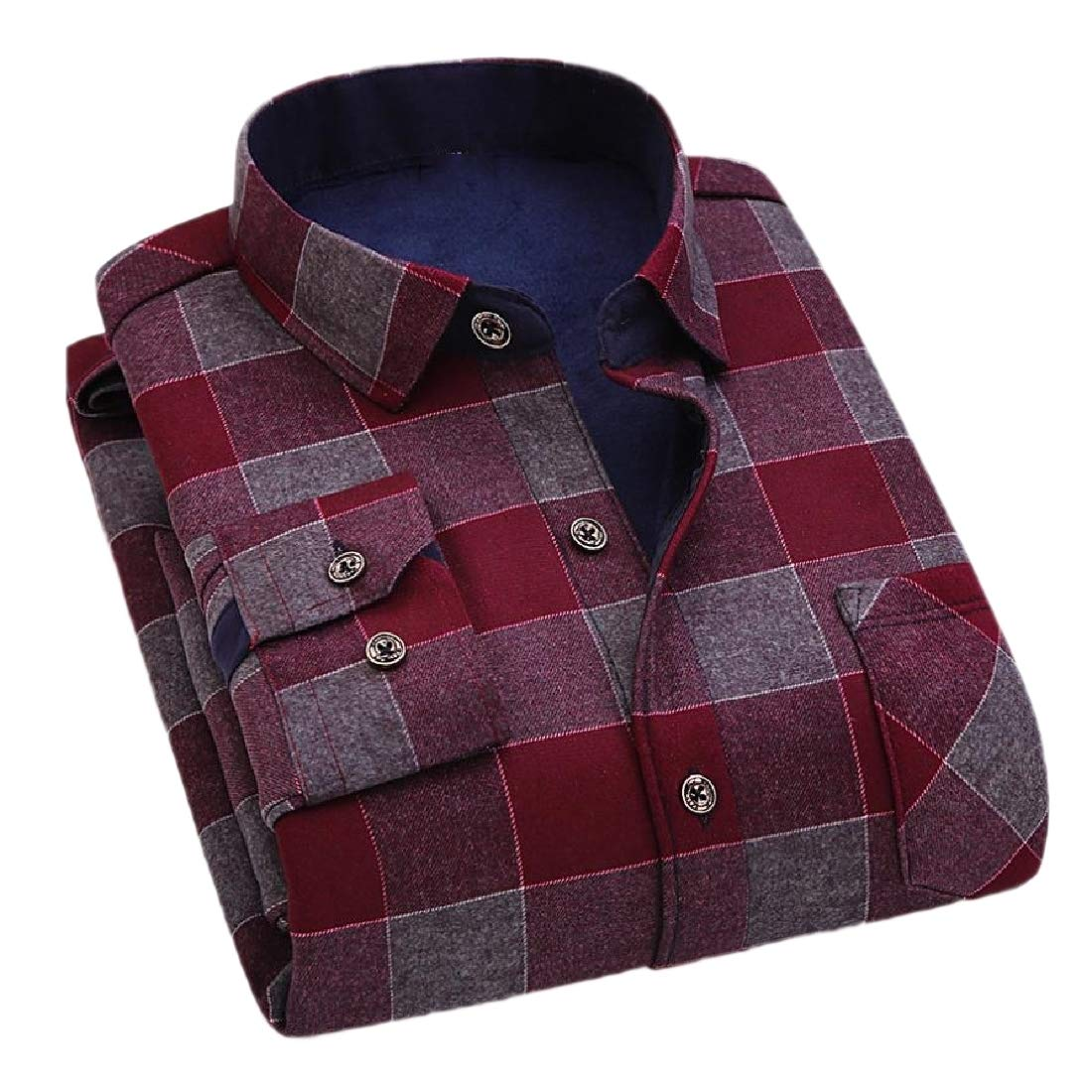 Tootless-Men Plus Velvet Tops Thicken Lattice Detail Relaxed-Fit Shirts