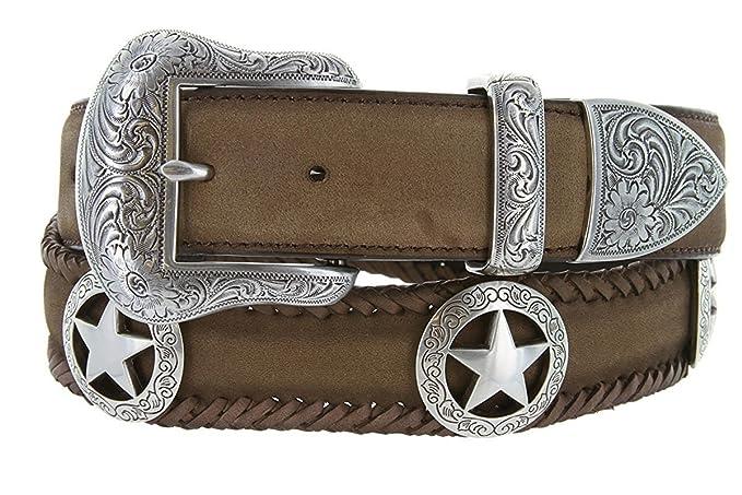 Avnet Ceinture Homme 38mm Cuir Style Texas Star Boucle Plaquée Argent  Sterling, Marron 150 e154c251269