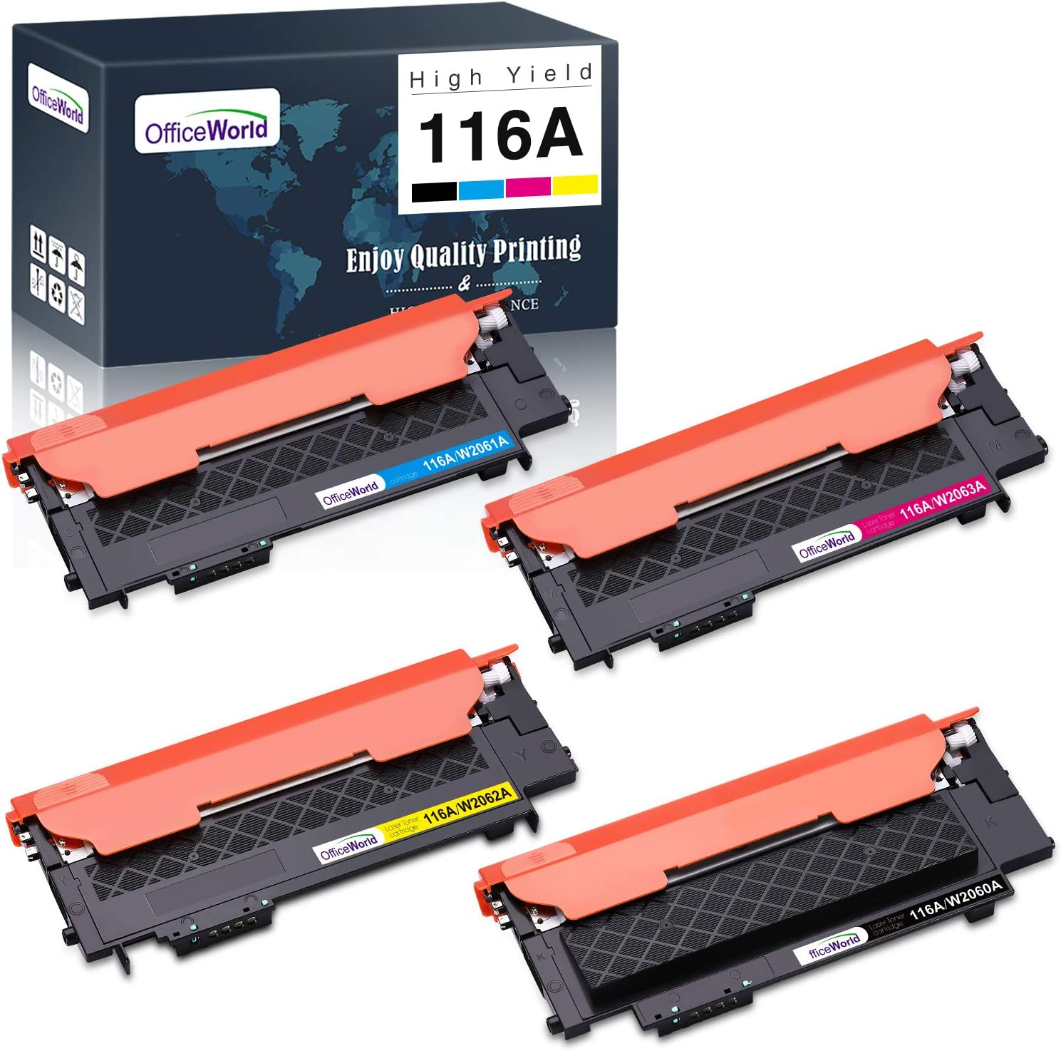 OfficeWorld 116A (with Chip) Toner Cartridge Replacement for HP 116A W2060A W2061A W2062A W2063A, for HP Color Laser MFP 179fnw MFP 178nw 150a 150nw Printer, (Black Cyan Yellow Magenta, 4-Pack)