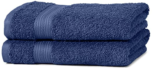 180 opinioni per AmazonBasics- Set di 2 asciugamani per le mani che non sbiadiscono, colore Blu