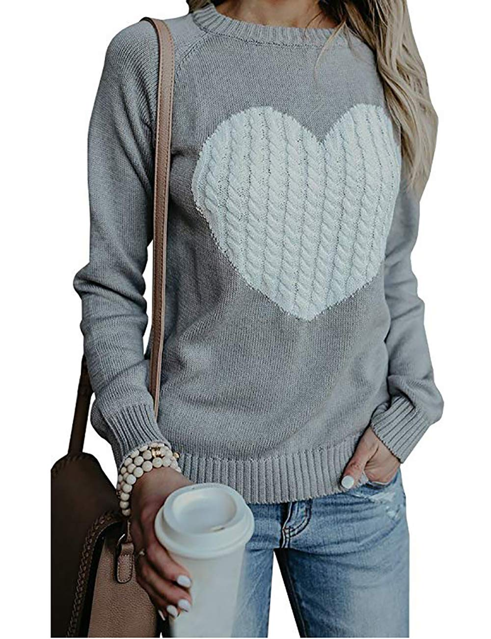 shermie Womens Pullover Sweaters Long Sleeve Crewneck Cute Heart Knitted Sweaters Grey, Medium by shermie
