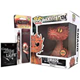 """Smaug 6"""" Yellow Eyes CHASE by Funko Bundled w/The Hobbit Pen, Bookmark & Magnet"""