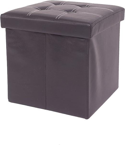 Mobili Rebecca® Arcones y Baules Puff Taburete Asiento almacenaje con Tapa Hogar Dormitorio Color Negro Polipiel 38 x 38 x 38 cm (Cod. RE4915): Amazon.es: Juguetes y juegos