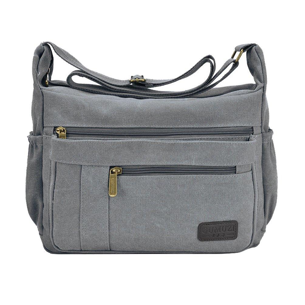 Fabuxry Light Weight Canvas Shoulder Bag for Women Messenger Handbags Cross Body Multi Zipper Pockets Bag (Grey)