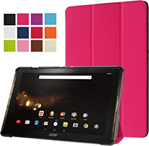 """Acer Iconia Tab 10 A3-A40 Case, Pasonomi Ultra Slim Lightweight PU Leather Folio Case Stand Cover for Acer Iconia Tab 10 A3-A40 10.1"""" Android Tablet (Hot Pink)"""