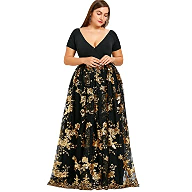 Langstar Women\'s Plus Size Short Sleeve V-Neck Floral Sequined Maxi ...