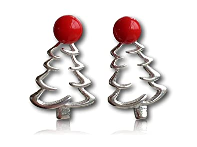 3070fcc4fbe1f Exquisite 925 sterling silver Christmas tree earrings in a beautiful  filigree design featuring a bright red tree topper - the perfect  accessories this ...
