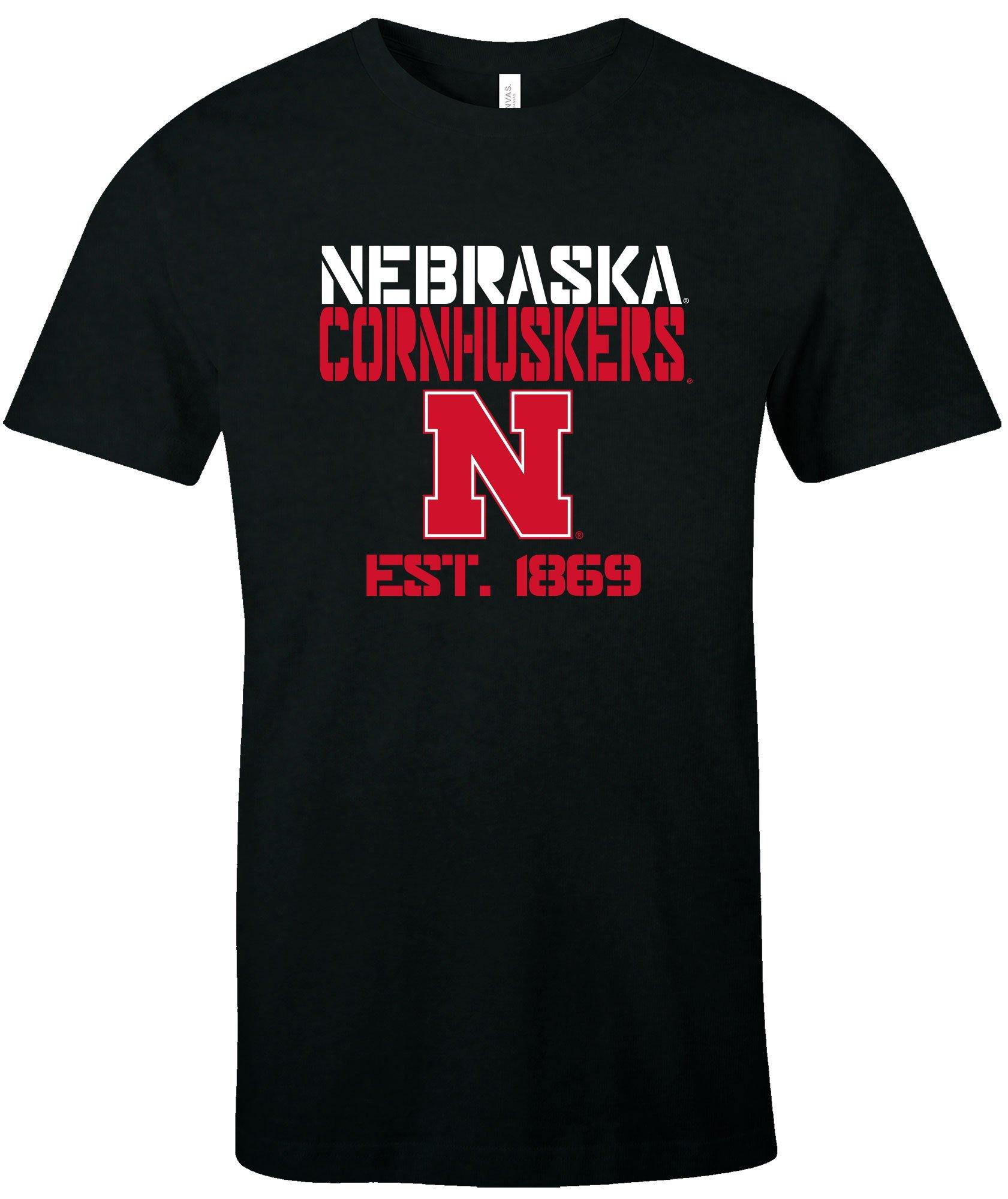 Nebraska Cornhuskers Est Stack Short Sleeve T Shirt Black Xx