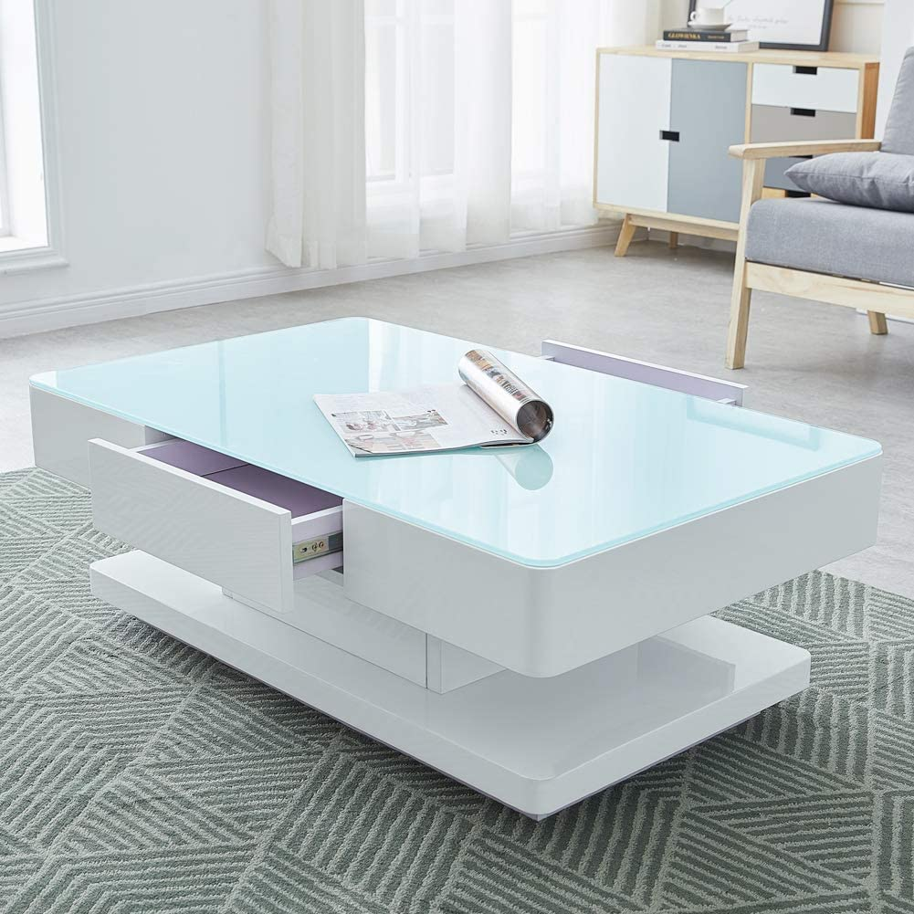 Ofcasa White High Gloss Coffee Table For Living Room With Storage 2 Drawer Rectangle Glass Coffee Table Gloss Living Room Table Wood Storage Cabinet For Living Room Home Office Amazon Co Uk Kitchen Home