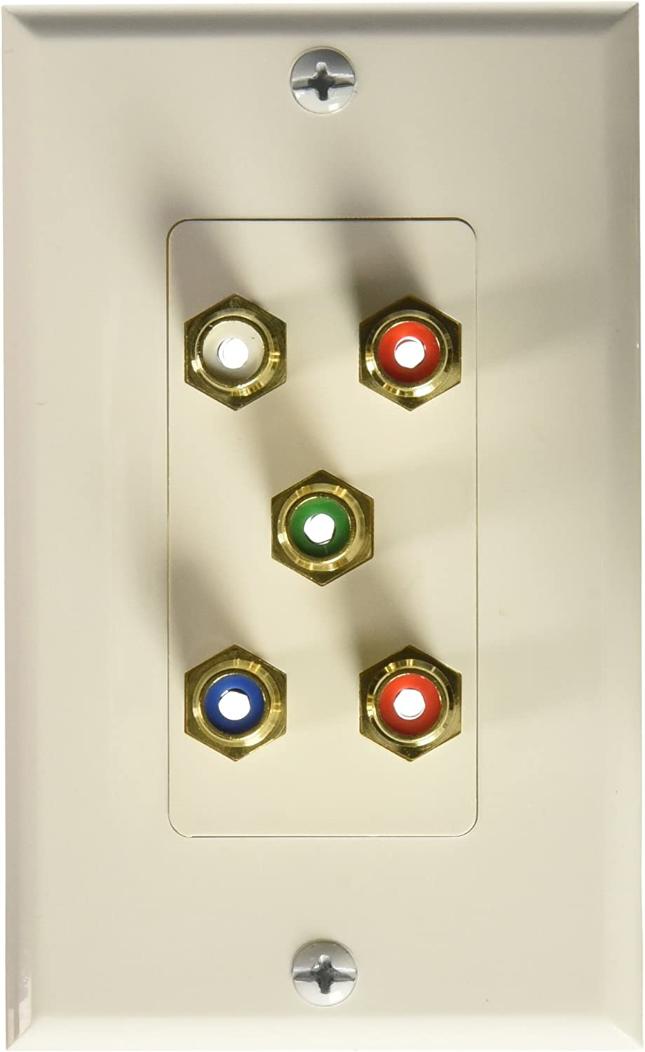 RGB and Audio Monoprice 102999 5 RCA Component Two-Piece inset Wall Plate