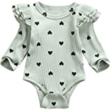 fhutpw Baby Girls Romper Newborn Clothes Jumpsuit Fall Outfits Infant Solid Color Long Sleeve Ruffled Bodysuit