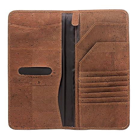 ef12a1f2a938 Boshiho Eco-friendly Cork Passport Cover Case Passport Wallet Ticket  Organizer (Size L - Brown)