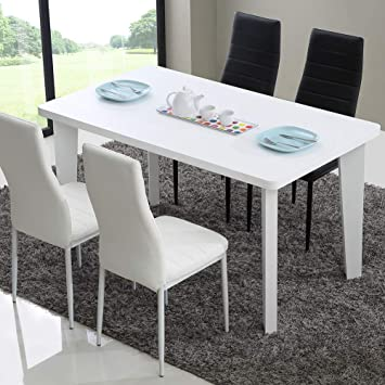 TUKAILAI 140x80x75cm White Rectangular Dining Table Only Dining Room