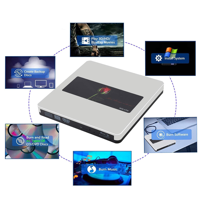 External Bluray Drive 3D NOLYTH USB C External Blu Ray Drive Player Burner for MacBook Pro/Air/Mac/Laptop/Windows10 by NOLYTH (Image #6)