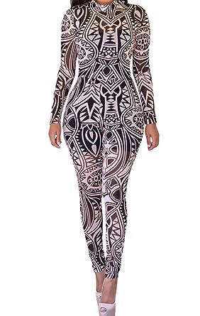 fqhome para mujer negro Nude tatuaje tribal print Mono Sheer ...