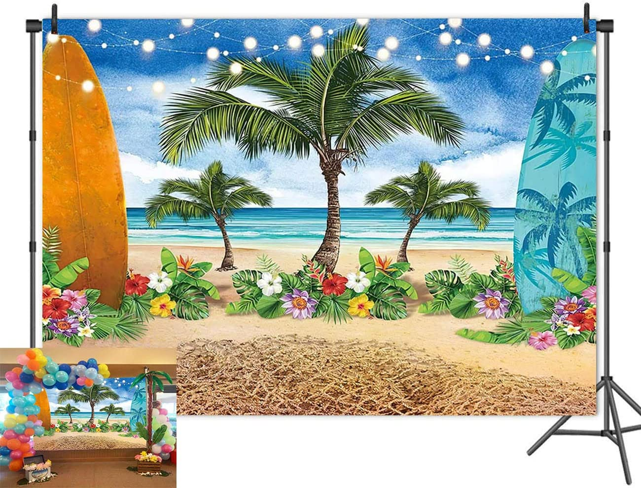 6x6FT Vinyl Backdrop Photographer,Hawaiian,Tropic Silhouette Trees Background for Baby Birthday Party Wedding Graduation Home Decoration