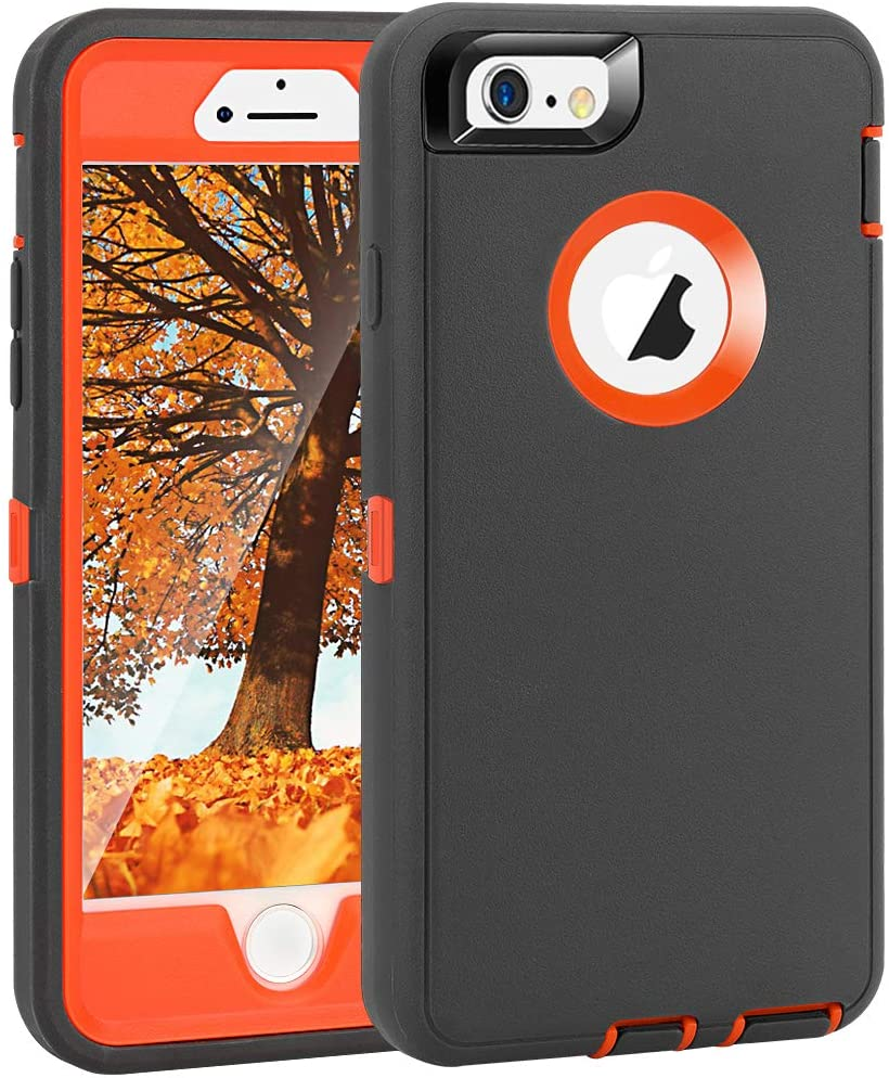 "iPhone 6 Plus/6S Plus Case, Maxcury Heavy Duty Shockproof Series Case for iPhone 6 Plus /6S Plus (5.5"") with Built-in Screen Protector Compatible with All US Carriers (Charcoal/Orange)"