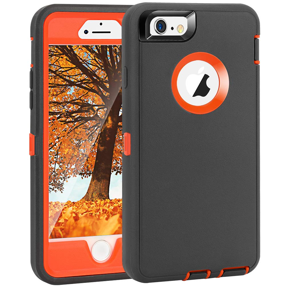 "Crosstreesports iPhone 6 Case iPhone 6s Case Heavy Duty Shockproof Series Case for iPhone 6/6S (4.7"")-V2 with Built-in Screen Protector Compatible with All US Carriers - Charcoal and Orange"