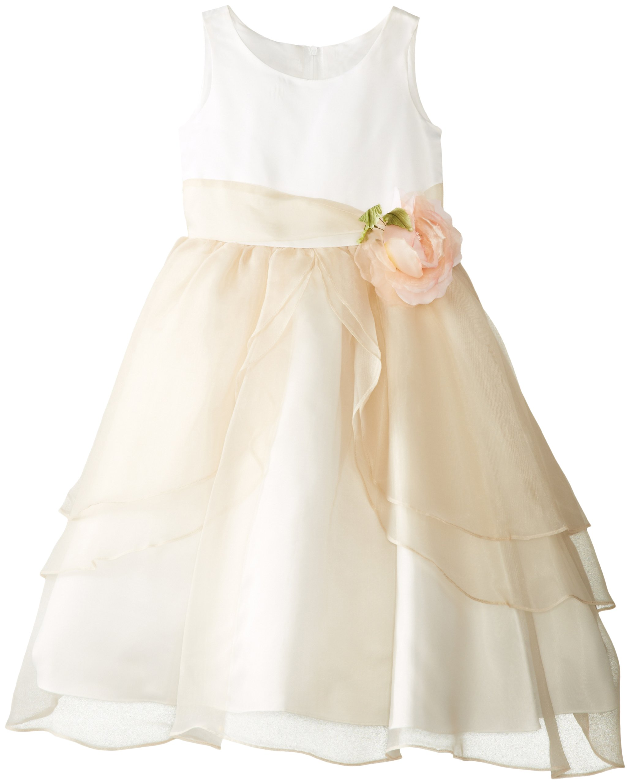Us Angels Little Girls' Tank Dress with Layers of Organza Skirt, Ivory/Champagne, 4 by US Angels