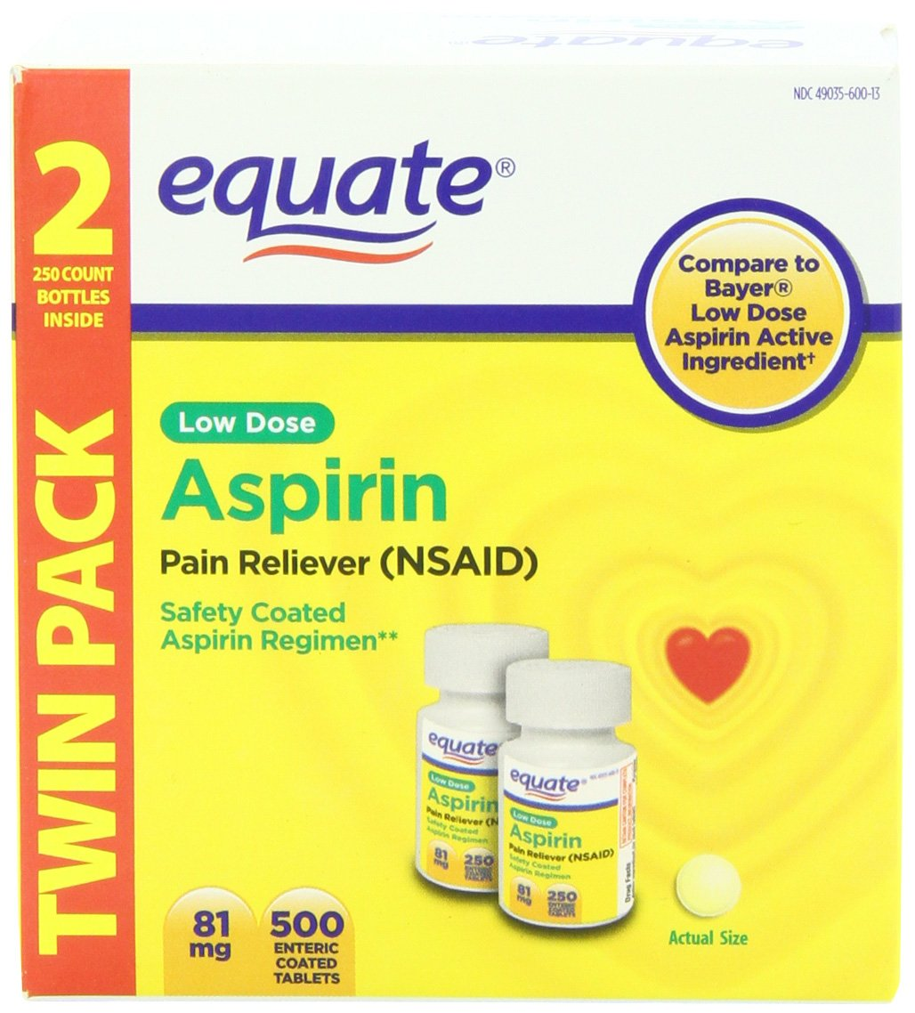 Equate Low Dose Aspirin Pain Reliever, 500 Count by Equate