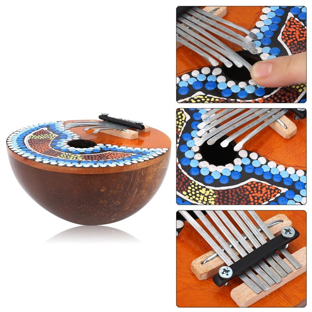 VGEBY 7 Key Kalimba Thumb Piano, Tuneable Coconut Shell Finger Thumb Piano by VGEBY (Image #4)