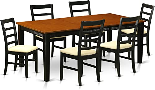 QUPF7-BCH-C 7 Pc Dining set-Dining Table with 6 Wood Dining Chairs