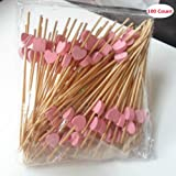 "AKOAK 100 Counts Handmade 4.7"" Pink Heart Cocktail Sticks Sandwich Fruit Toothpicks Cocktail Picks Party Supplies"