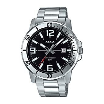 Casio MTP-VD01D-1BV Mens Enticer Stainless Steel Black Dial Casual Analog Sporty Watch
