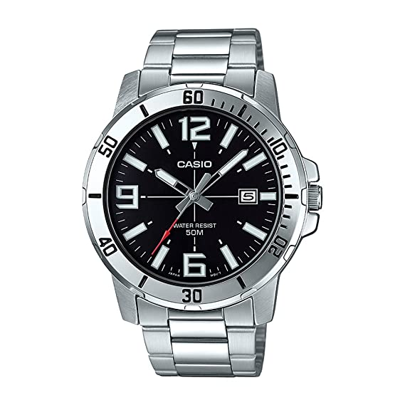 Amazon.com: Casio MTP-VD01D-1BV Mens Enticer Stainless Steel Black Dial Casual Analog Sporty Watch: Watches