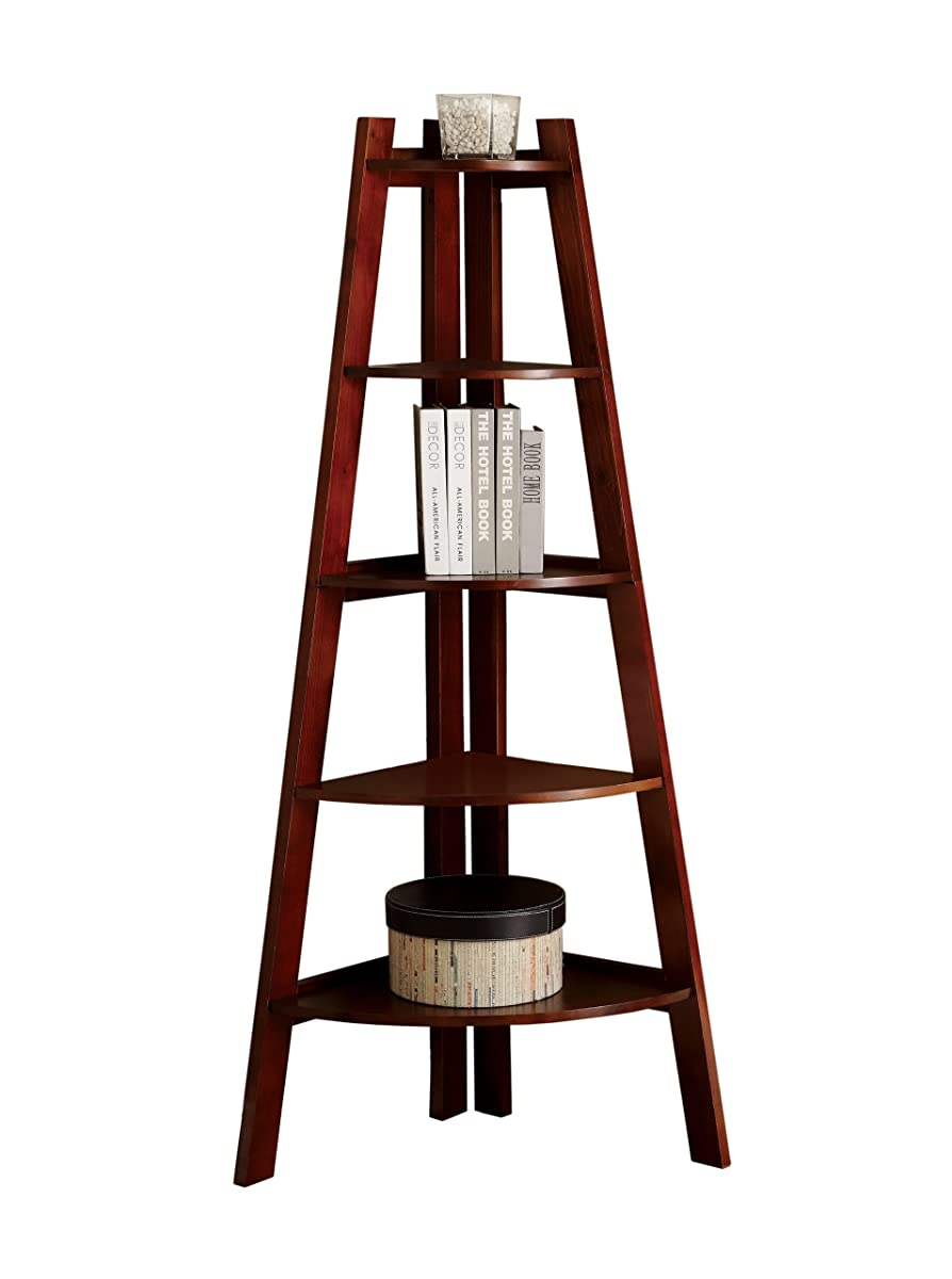 Furniture of America Andrea 5-Tier Corner Bookshelf, Cherry