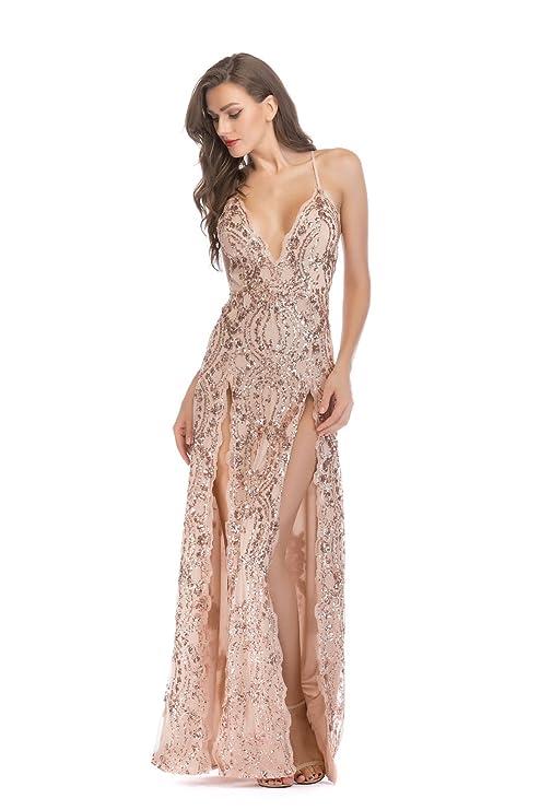 Ropa An Open Vestidos con un arnés,El Color de la Piel XL: Amazon ...
