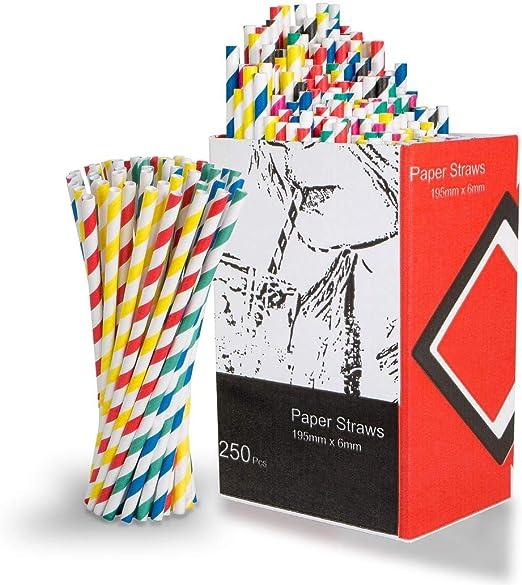 250 Unidades De Papel Biodegradable Pajitas De Beber | 6 Colores ...