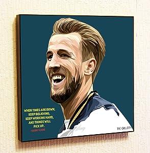 Harry Kane Tottenham Hotspur Soccer Football Framed Poster Pop Art for Decor with Motivational Quotes Printed (10x10 (25.4cm x 25.4cm))
