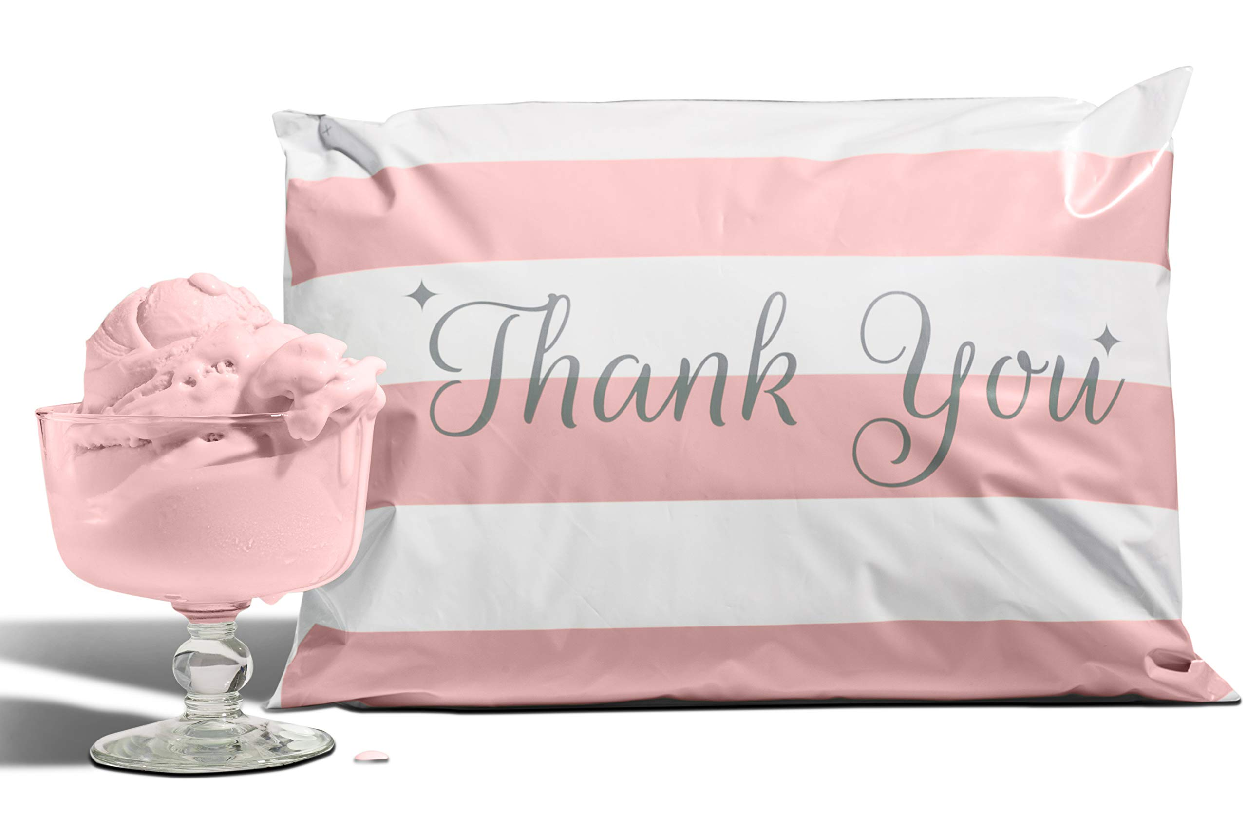 10x13 Pack of 100 Bubble Gum Reusable Poly Mailers Eco-Friendly Pink Thank You Double Seal Pull Tab Designer Boutique Poly a la Mode by A LA MODE MAILERS TOPPED WITH STYLE.