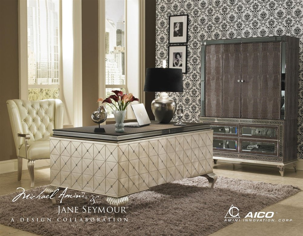 Amazon.com: Hollywood Swank Cavier Desk With Metal Cabriole Legs By Aico  Amini: Kitchen U0026 Dining