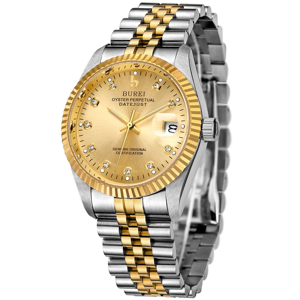 BUREI Mens Formal Automatic Watches with Elegant Face Datejust Sapphire Crystal Metal Band