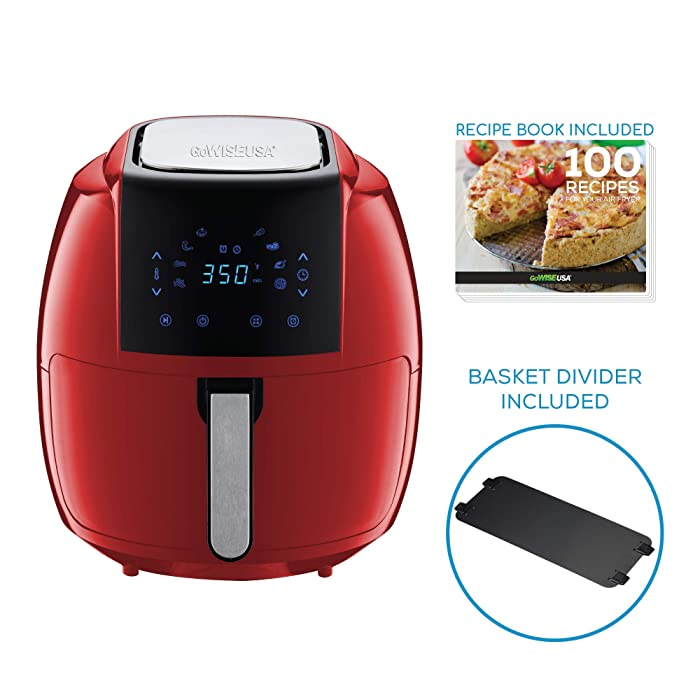 GoWISE USA 7-Quart 8-in-1 Digital Air Fryer with Basket Divider Accessory + Recipes, Red, 7.0-Qt