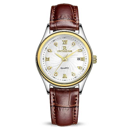 RORIOS Moda Mujer Relojes de Pulsera Leather Band Cuarzo Analógico Day Calendario Relojes de Mujer Impermeable Marrón Gold: Amazon.es: Relojes