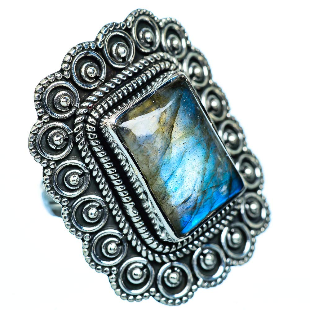 Ana Silver Co Huge Labradorite Ring Size 7 - Handmade Jewelry Vintage RING943813 Bohemian 925 Sterling Silver