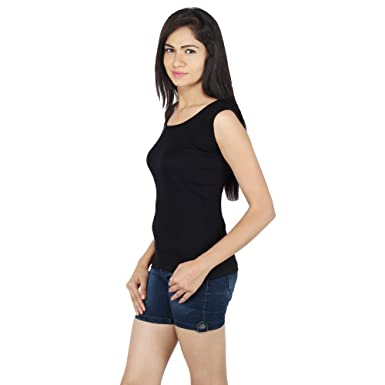 016c6f327d5 Generic Girl's Cotton Broad Strap Tank Top (GT-516, Black, Free Size ...