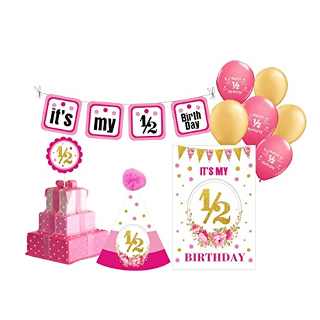 PrettyurParty Half Birthday Photo Shoot Props Decorations For Girls Amazonin Toys Games